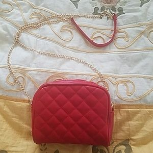 Faux red leather purse
